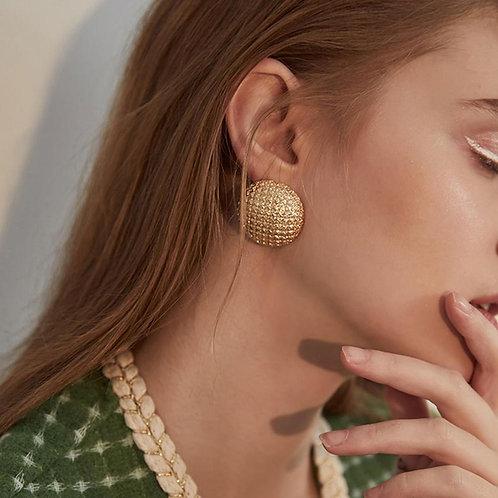 AENSOA Round Shaped Gold Color Earrings Simple Metal Vintage Stud