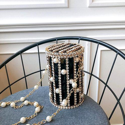 Cylindrical Pearl Rhinestone Bag