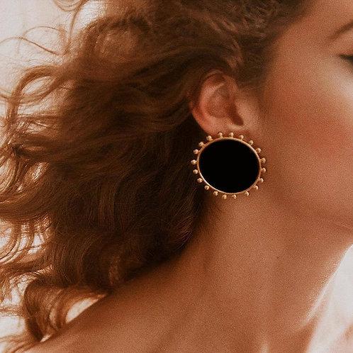 AENSOA New Design Vintage Black Round Stud Earrings for Women Bohemian
