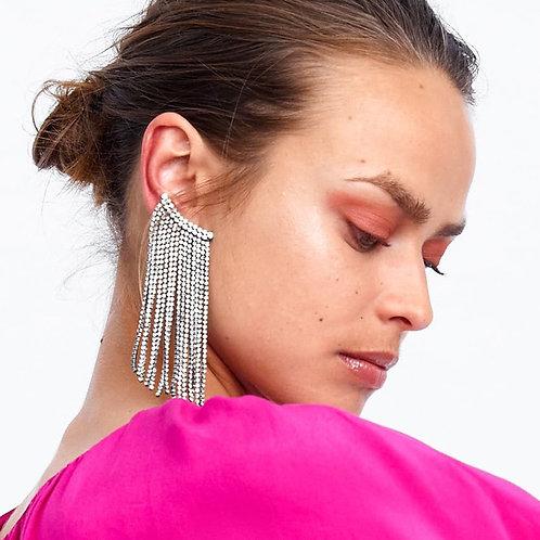 JURAN Luxury Fringed Handmade Crystal Long Tassel Earrings For Women