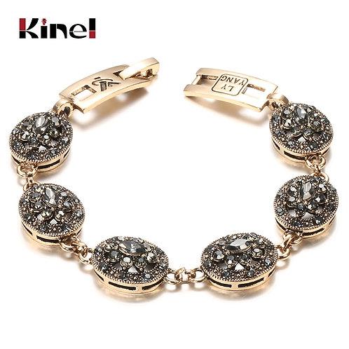 Kinel Charm Boho Women Link Bracelet Antique Gold Color Gray Crystal