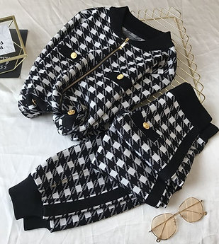 Knitted Black and White Checkered Pattern Pant Set