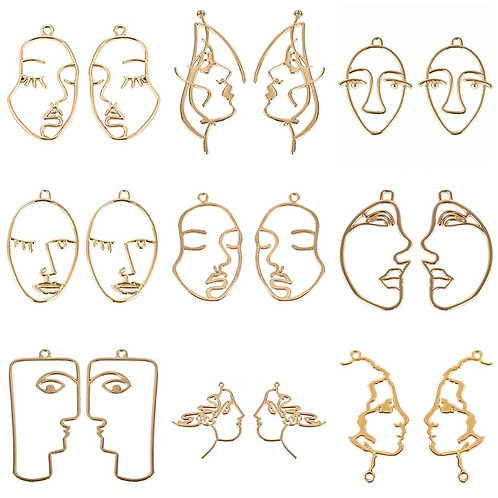10pcs Gold Alloy Temperament Abstract Human Face Hollow Charms Pendant