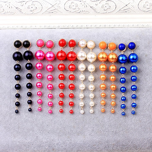 Trendy Long Pearl Earrings Fashion Jewelry Statement Boho Colorful Red