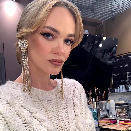 Gorgeous Rhinestone Big Heart Charms Dangle Earrings For Women Fashion
