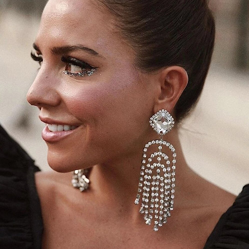New Fashion Sparkling Rhinestone Tassel Dangle Earrings Ladies Jewelry