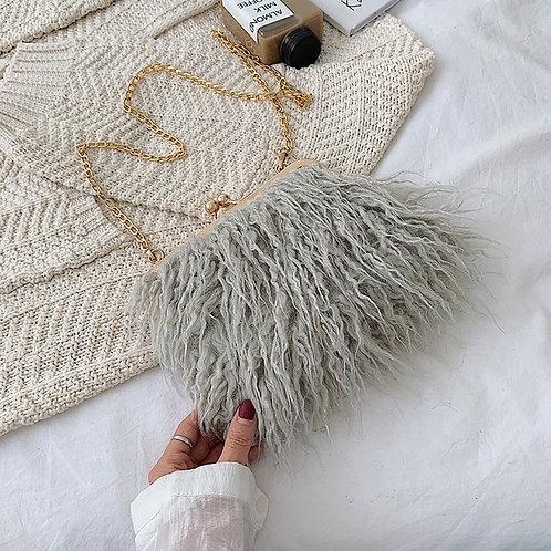 Ostrich Fur Crossbody Bag