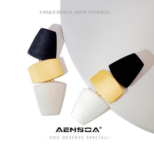 AENSOA Trendy Long Geometric Drop Earrings For Women Black Golden