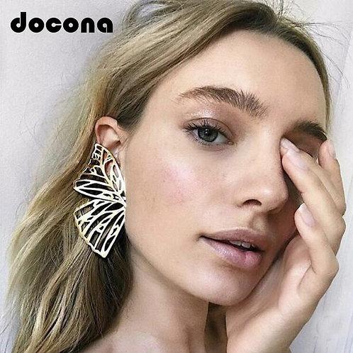 Docona Gold Hollow Butterfly Drop Dangle Earring for Women Metal Big