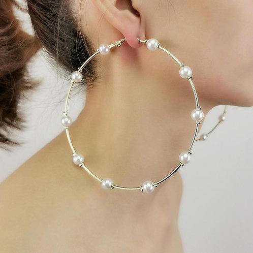 MANILAI 10cm Imitation Pearl Big Hoop Earrings For Women Large