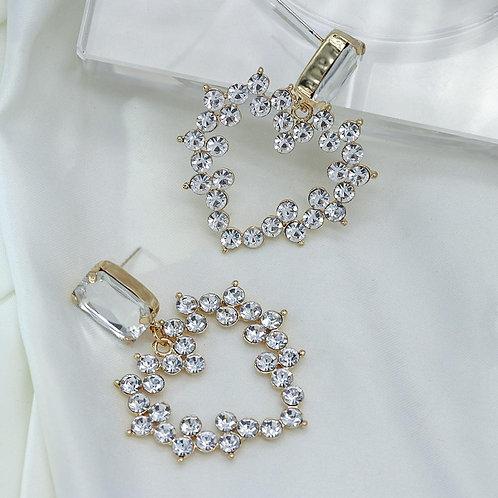 AENSOA Women Drop Earrings Crystal Heart Big Brand Design Luxury