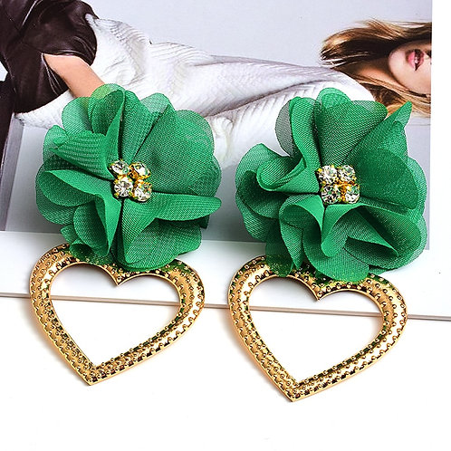 New Statement Handmade Flower Earrings High quality Crystal Heart Drop