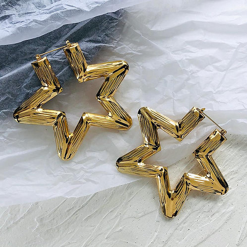 AENSOA New Ethnic Vintage Gold Silver Color Star Statement Earrings