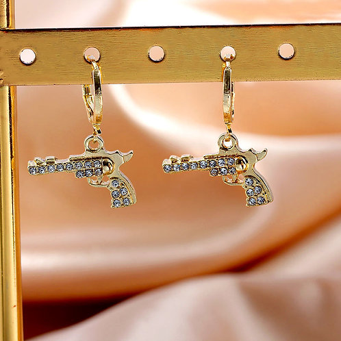 New Punk Style Shiny Crystal Pistol Drop Earrings for Women Gold Color