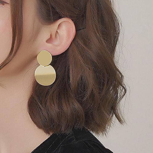 AENSOA Fashion Trendy Metal Geometric Earring for Women Gold Color