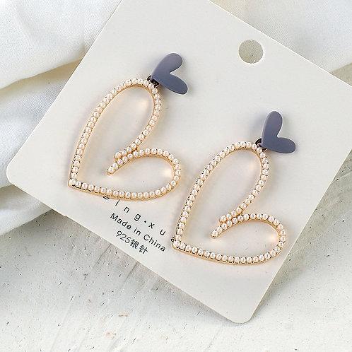 AENSOA Korean Luxury Pearl Drop Earrings For Women Big Long Heart