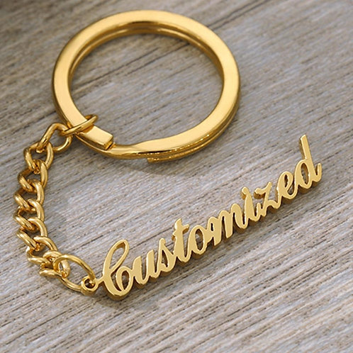 Custom Name Keychains Old English Font Name Key Chain For Women Men