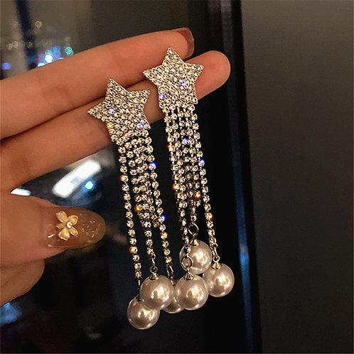 FYUAN Pentagram Crystal Drop Earrings for Women Bijoux Long Tassel