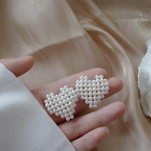 AENSOA New 2019 Fashion Big Pearl Heart Stud Earrings for Women