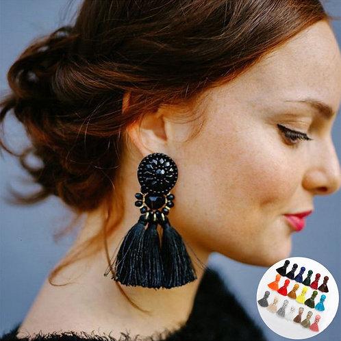 Spaloria Vintage Fringe Tassel Earrings Female Statement Jewelry For