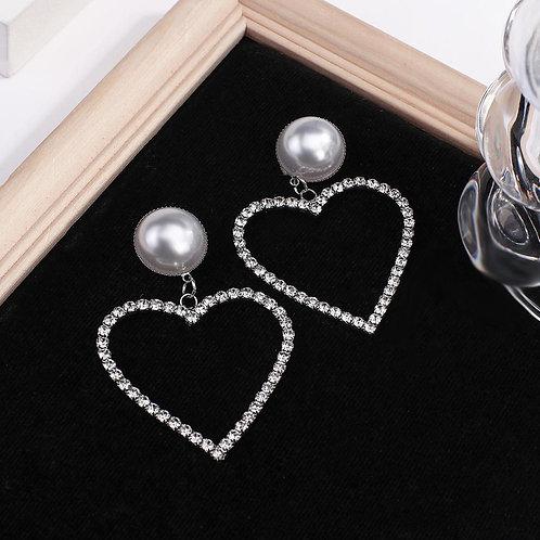AENSOA Big Heart Crystal Drop Earrings for Women Bijoux Geometric