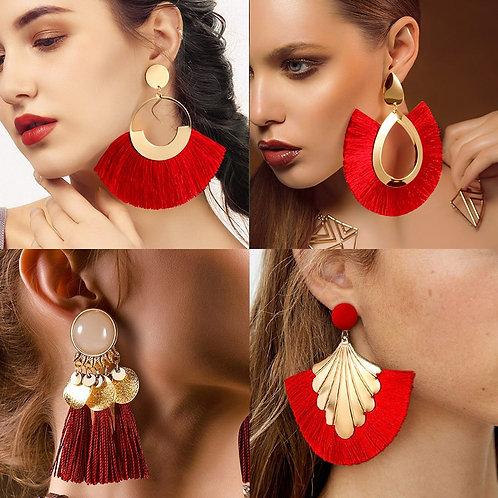 BLINLA Fashion Bohemian Big Tassel Dangle Drop Earrings for Women