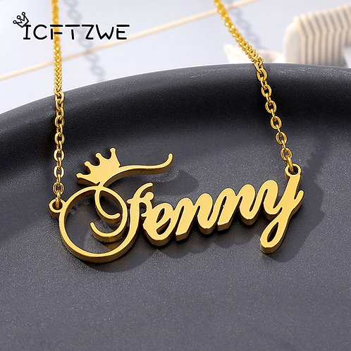 Custom Name Crown Necklace Nameplate Necklace For Women Personalized