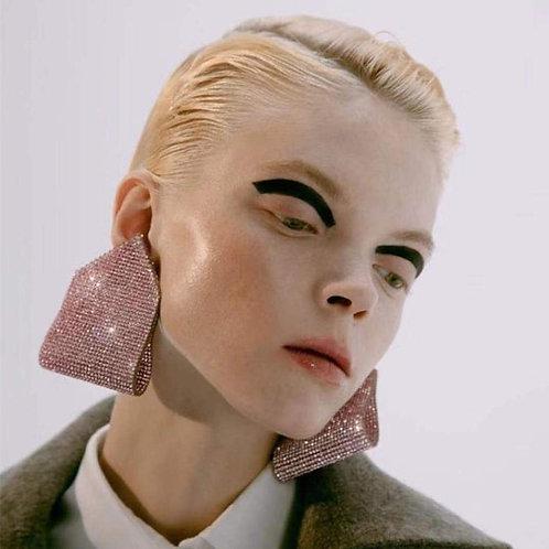 New Shiny Rhinestone Gems Fashion Women Dangle Earrings Jewelry Maxi