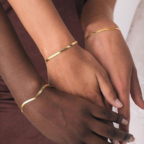 Classic 18k Gold Plated Flat  Bracelets and Necklace