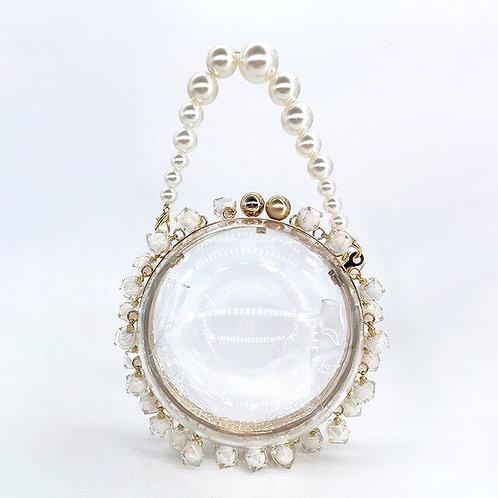 Pearls Beaded Clear Circular Bag