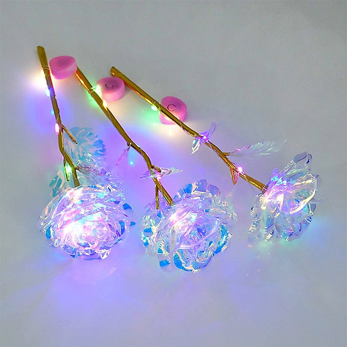 Artificial Eternal Rose Colorful LED Light Artificial Flowers Glowing