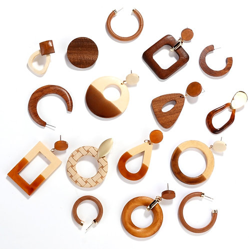 AENSOA Simple Geometric Circle Square Wooden Long Drop Earrings For