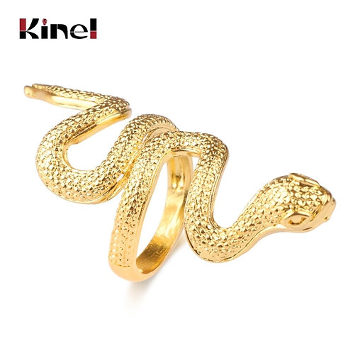 Kinel Fashion Snake Rings For Women Gold Color Black Heavy Metals Punk