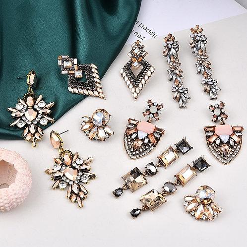 Ztech New Champagne Gold Shiny Glass Crystal Ear Earrings For Women