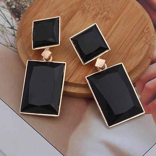 2019 New Design Blue Black Gold Color Square Drop Earrings For Women