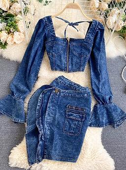 Denim Vest and Skirt Set