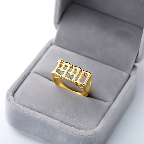 Stainless Steel Birth Year Rings For Women Men Old English Gold Ring