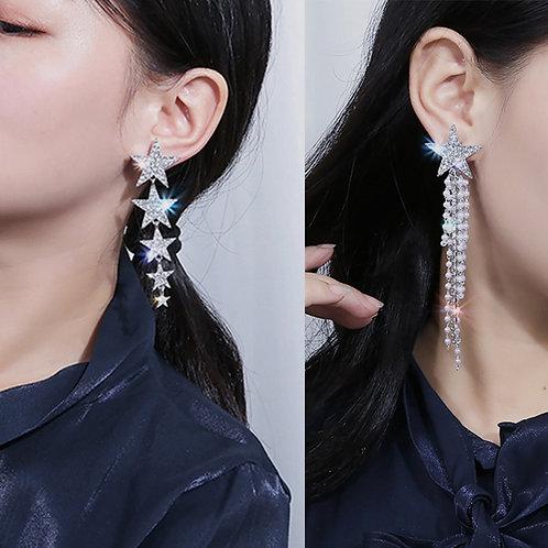 AENSOA Fashion Crystal Star Long Drop Earrings For Women Trendy Pearl