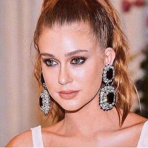 New Arrival Black Crystal Big Drop Dangle Earrings For Women Fashion