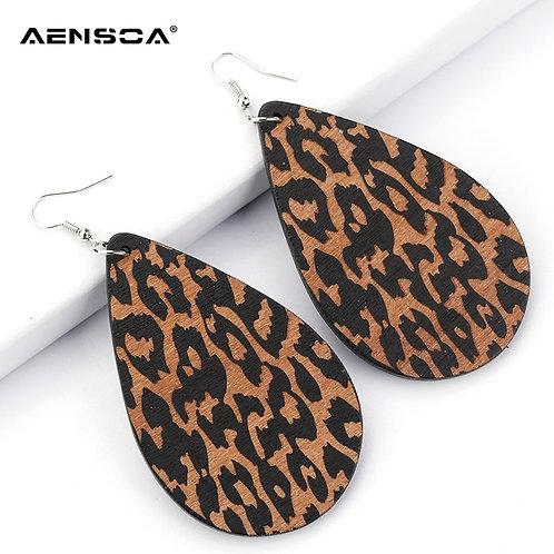 AENSOA Simple Vintage Leopard Wood Earrings African   Teardrop Drop