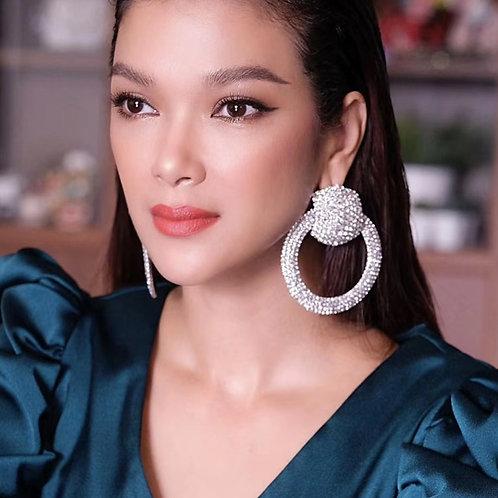 Women Fashion Shiny Rhinestone Big Circle Dangle Earrings Jewelry Maxi