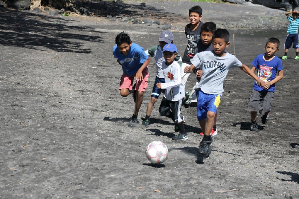 Playing soccer in Nicaragua