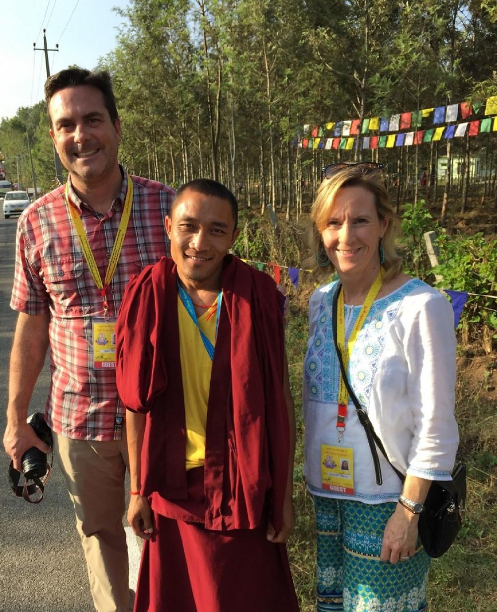 Jennifer & Mark Spatz with Choedak, a Tashi Lhunpo Monk