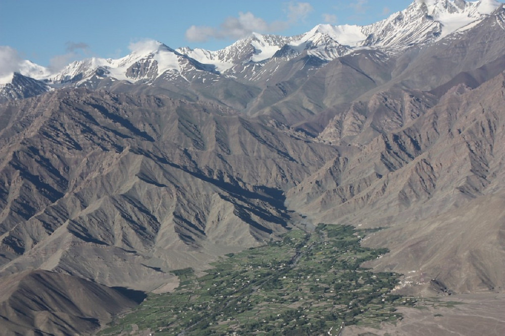 Aerial view of Stok Village, Ladakh