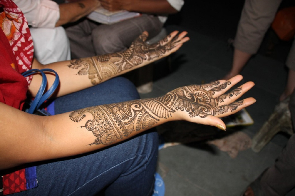 Henna on a bride-to-be in India