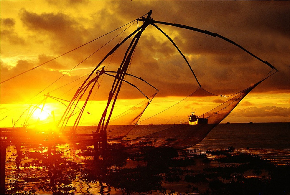 Chinese fishing nets in Kochi, South India
