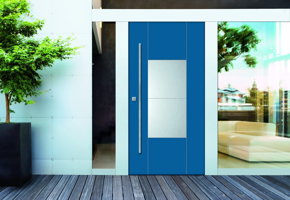 Porte blindée bleue