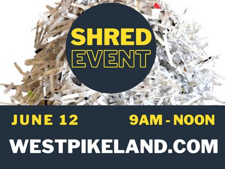 Shredding Event - June 12, 2021