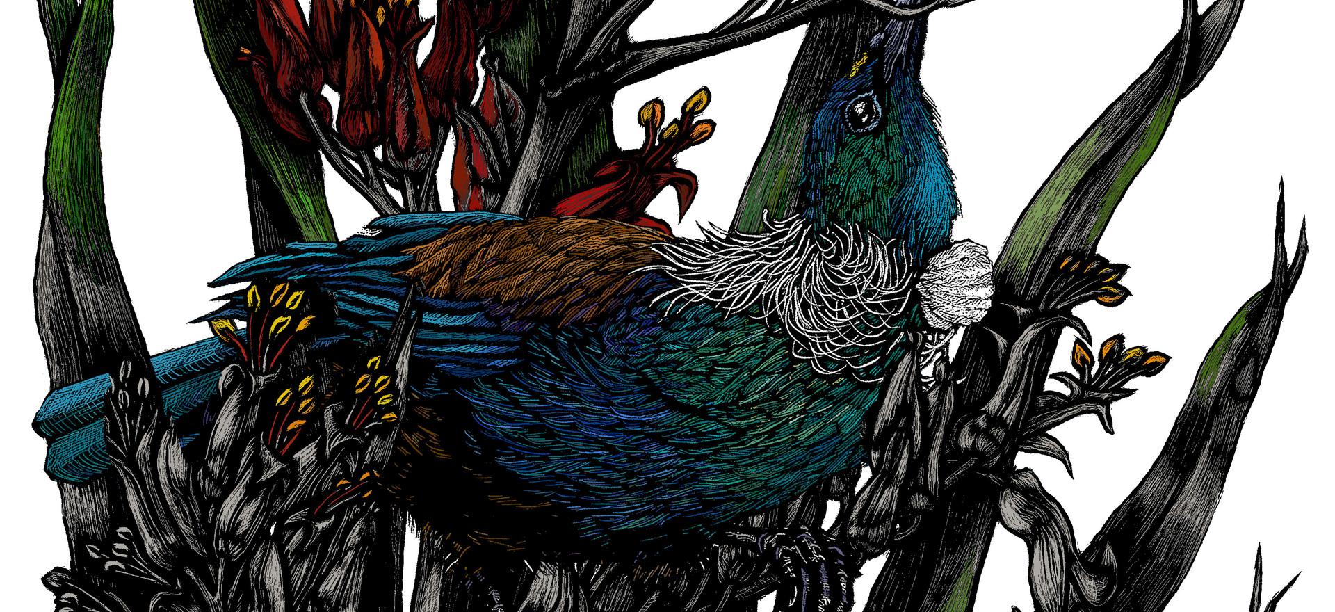 New Zealand Flax & Tui in progress.jpg