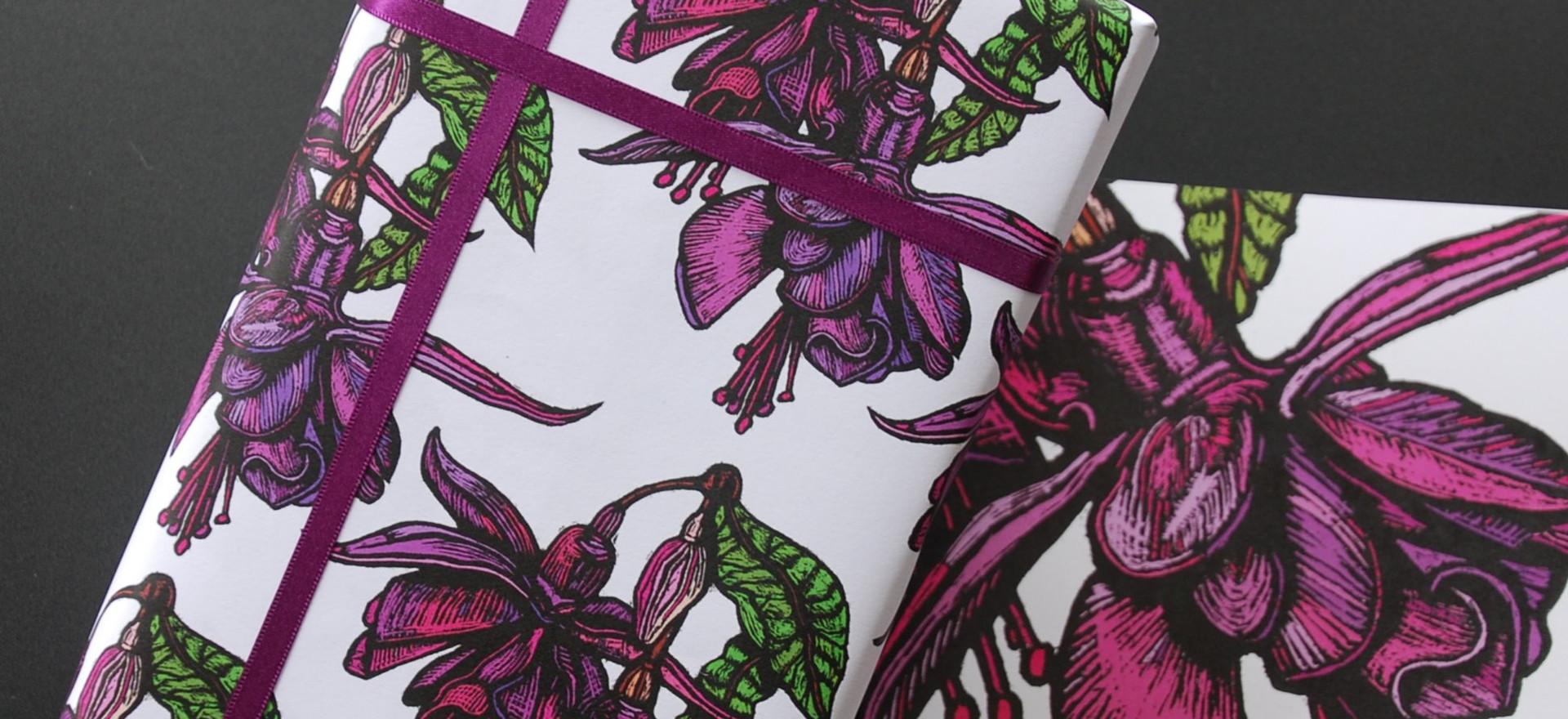 Fuchsia Gift Wrap and Card